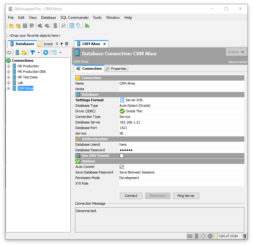 Setting Up a Connection Manually - DbVisualizer 9 5 Users