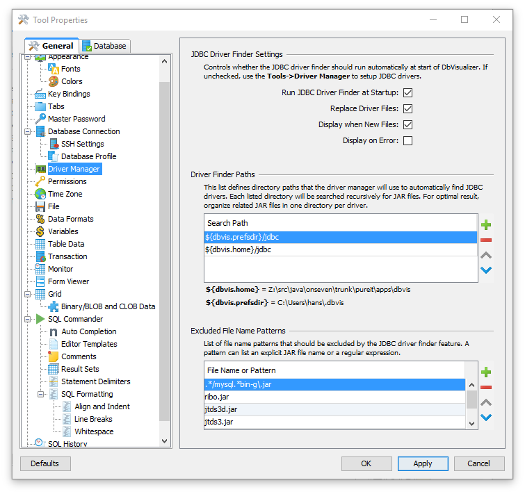 Installing a JDBC Driver - DbVisualizer 9 5 Users Guide