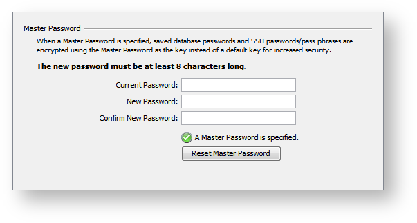 Setting a Master Password - DbVisualizer 9 2 Users Guide